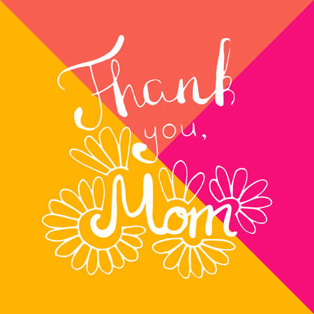 Thank you mom card in vector. Happy mothers day Illustration