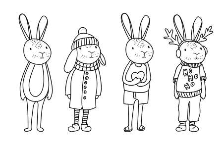 Funny bunny characters in cartoon style. Vector illustration. Illustration