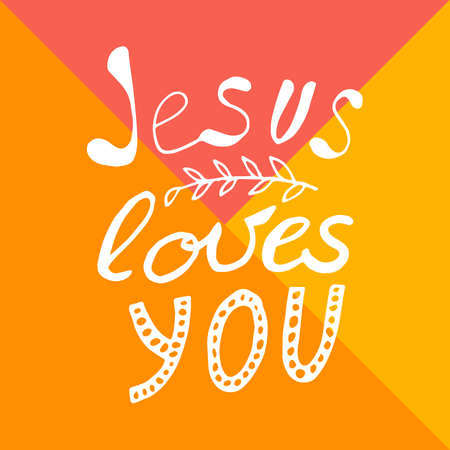 Jesus loves you lettering in hand drawn style. Vector illustration
