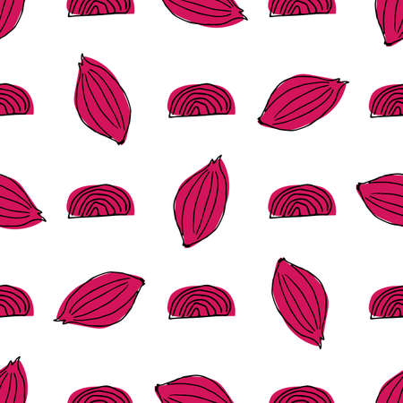 Seamless pattern with red onion in hand drawn style. Vector illustration