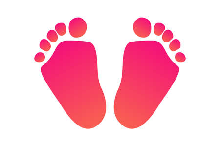 Kids little foots icon in flat style. Vector illustration