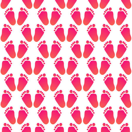 Baby little foots seamless pattern in flat style. Vector illustration