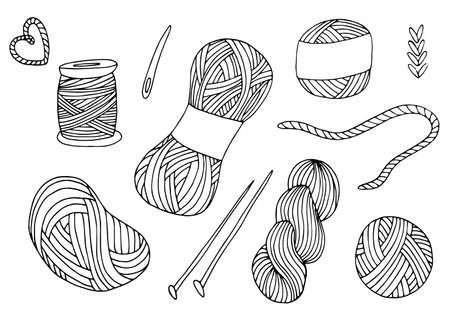 Knitting yarn balls set in hand drawn style.