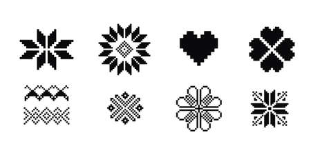 Scandinavian symbols for Norway fairisle sweater design in vector