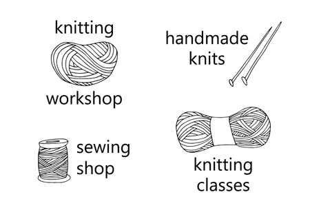 Knitting yarn icon set in hand drawn style. For shop, knitters and creative design. Vector illustration. Isolated on white