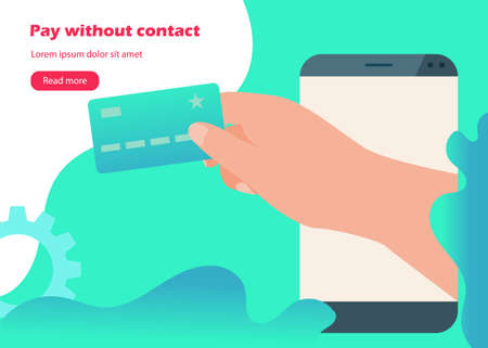 Contactless payments web banner with card and smartphone icons in flat style Vettoriali