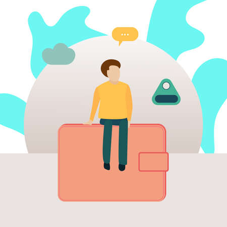 Lost key finder web banner with young man and wallet icons in flat style Vettoriali