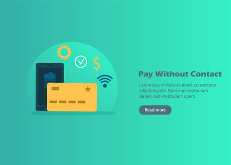 Contactless payments web banner with card and smartphone icons in flat style