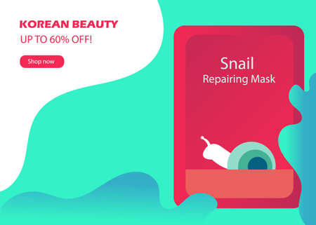 Web banner with Korean cosmetic in flat style. Vector illustration