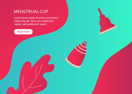 Banner with menstrual cups in flat style Illustration