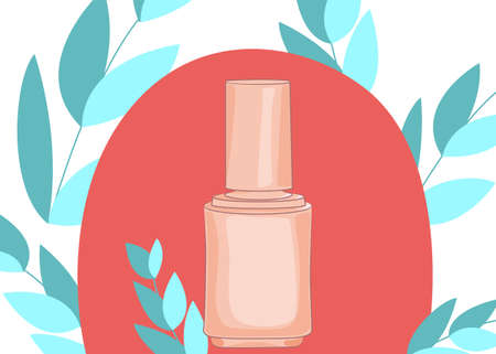 Web banner with nail polish icon for manicure in flat style. Vector illustration 일러스트