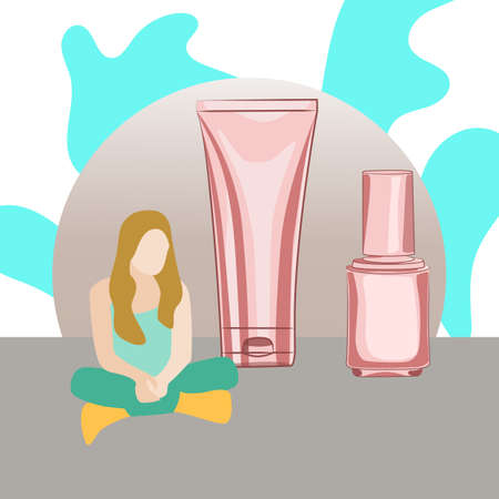Web banner with young girl and Korean cosmetics in flat style. Vector illustration