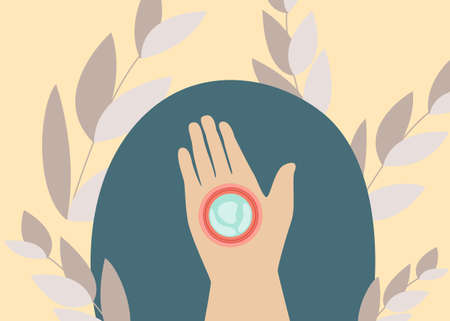 Web banner with woman hand and Korean cosmetic for eyes in flat style. Vector illustration