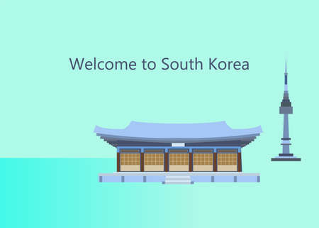 South Korea banner with traditional architecture in flat style.