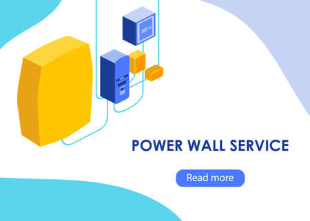 Power wall concept in modern isometric style. Vector illustration. For web, banner, shop.