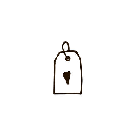 Tag with heart icon in doodle style. Vector illustration 일러스트