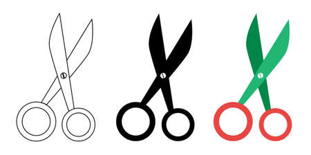 Pet scissors icons in flat, simple, outline styles. Vector illustration. Ilustrace