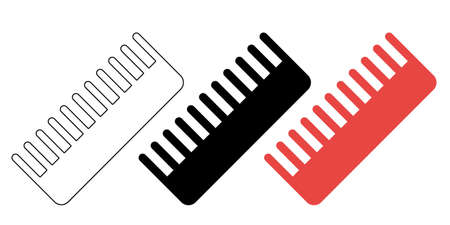 Pet hairbrush icons in flat, simple, outline styles. Vector illustration.