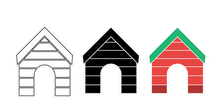 Pet house icons in flat, simple, outline styles. Vector illustration.