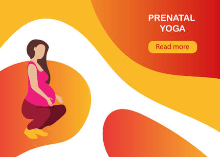 Yoga for pregnant woman banner template in a modern cartoon style. Prenatal yoga website page. Vector illustration Illusztráció