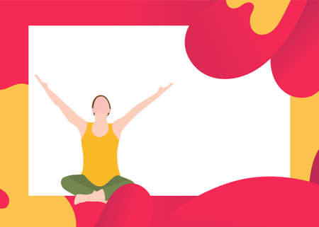 Yoga for pregnant woman banner template in a modern cartoon style. Prenatal yoga website page. Vector illustration Stock Illustratie