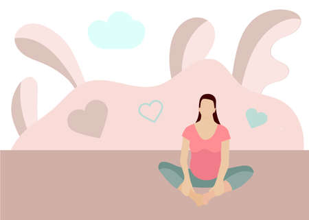 Yoga for pregnant woman banner template in a modern cartoon style. Prenatal yoga website page. Vector illustration Ilustracja
