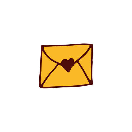 Love letter icon in hand drawn style. Vector illustration Illustration
