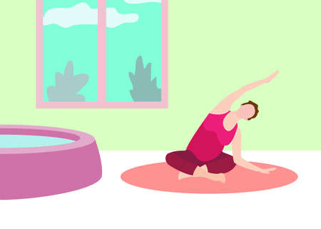 Pregnant woman exercise yoga banner in a modern cartoon style. Vector illustration Vektorové ilustrace