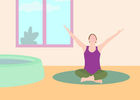 Pregnant woman exercise yoga banner in a modern cartoon style. Vector illustration