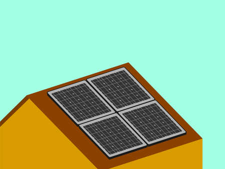 Solar panels on the roof of the house in flat style. Vector illustration. Ilustrace