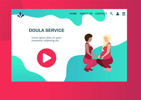 Doula for pregnant woman banner template in a modern cartoon style. Prenatal service website page. Vector illustration Ilustracja