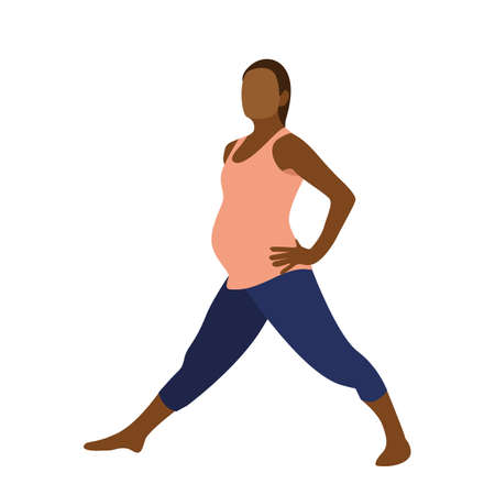 Young pregnant woman exercise yoga in flat style. Vector illustration Vektorové ilustrace