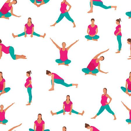 Pregnant woman exercise yoga icon in a modern cartoon style. Vector illustration Zdjęcie Seryjne - 121026129