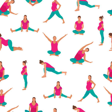 Pregnant woman exercise yoga icon in a modern cartoon style. Vector illustration