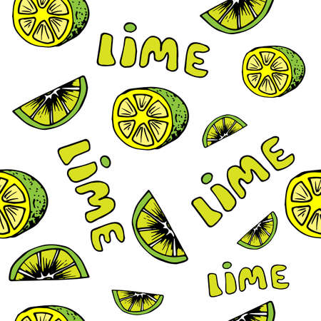 Lemon and lime seamless pattern in hand drawn style. Vector illustration Illustration