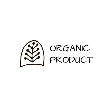 Organic product logo with swedish pattern element. For shop, store, market, print, labels, badge, local business. Vector illustration.