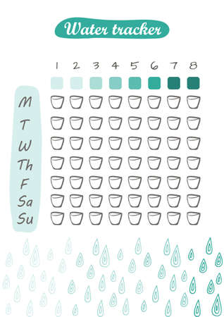 Water tracker template in hand drawn style style. For print, dairy and bullet journal. Vector illustration