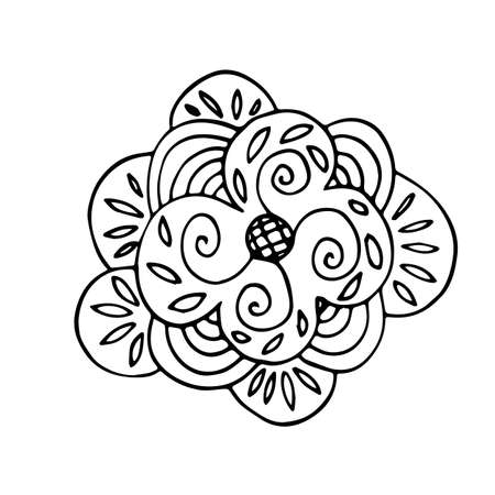 Eco flower icon in hand drawn style. Vector illustration. Isolated on white background