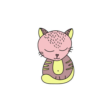 Cute cat in doodle style