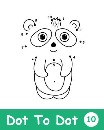 Dot to dot page with Panda in doodle style