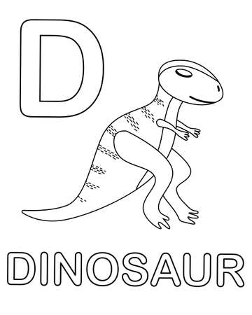 Alphabet coloring page with wild dinosaur in doodle style 向量圖像