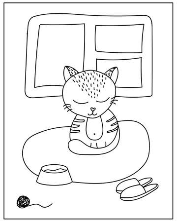 Coloring page with Cute cat in doodle style Ilustração