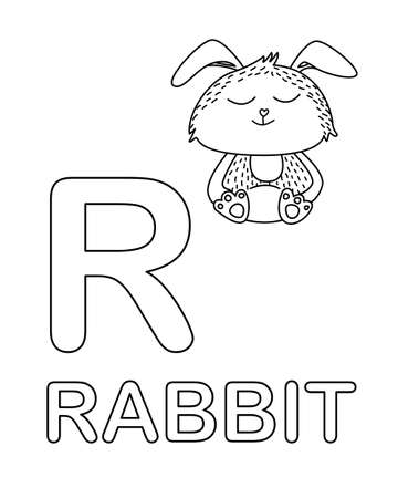 Cute rabbit icon with English alphabet letter R in outline style. Vector illustration. For worksheets and coloring books. Ilustracja