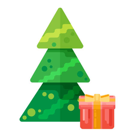 Christmas tree with gift box icon in creative flat style. Vector illustration for web, print, holiday design  イラスト・ベクター素材