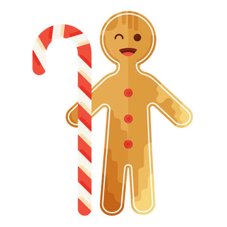 Christmas gingerbread man with sugar candy icons set in creative flat style.