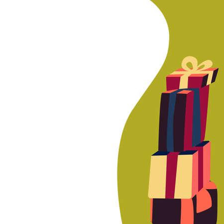 Gift banner in modern cartoon style for creative design. Ilustração
