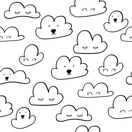 Scandinavian style pattern with clouds for nursery design - web, print, bedroom. Vector illustration