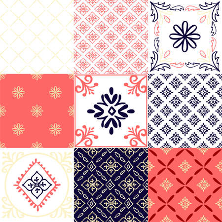 Abstract arabian tiles pattern with floral elements in doodle style