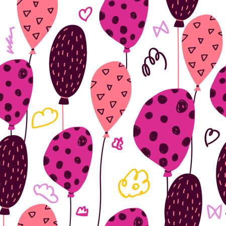 Festa Junina seamless pattern in cartoon style - for card, invitation, holiday design. Vector illustration. Air ballons with dots and circles