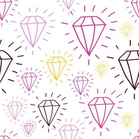 Festa Junina diamond seamless pattern in cartoon style - for card, invitation, holiday design. Vector illustration.  Ilustração